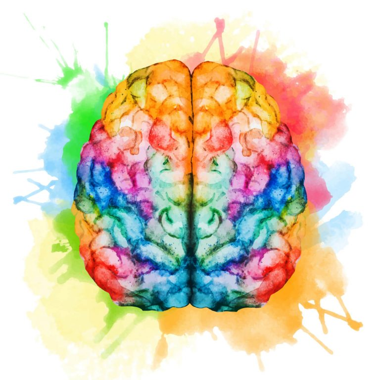 Artistic rendition of the top view of the brain with rainbow paint splotches