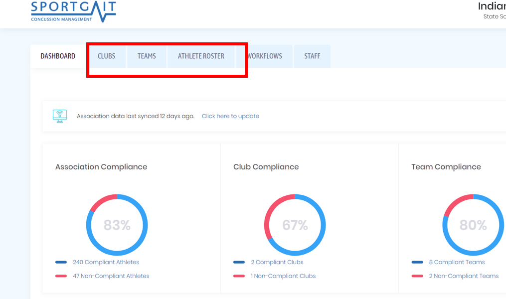 Running SportGait Club compliance report